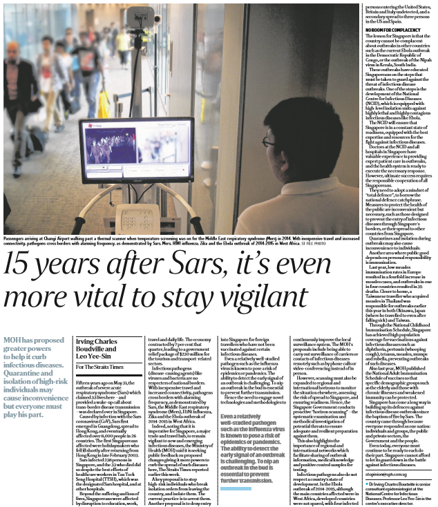 15 years after Sars, it's even more vital to stay vigilant