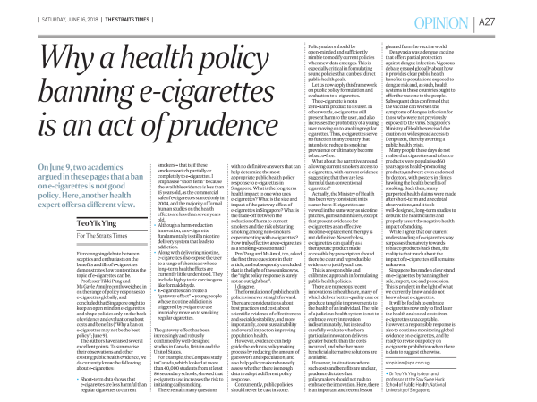Why a health policy banning e-cigarettes is an act of prudence