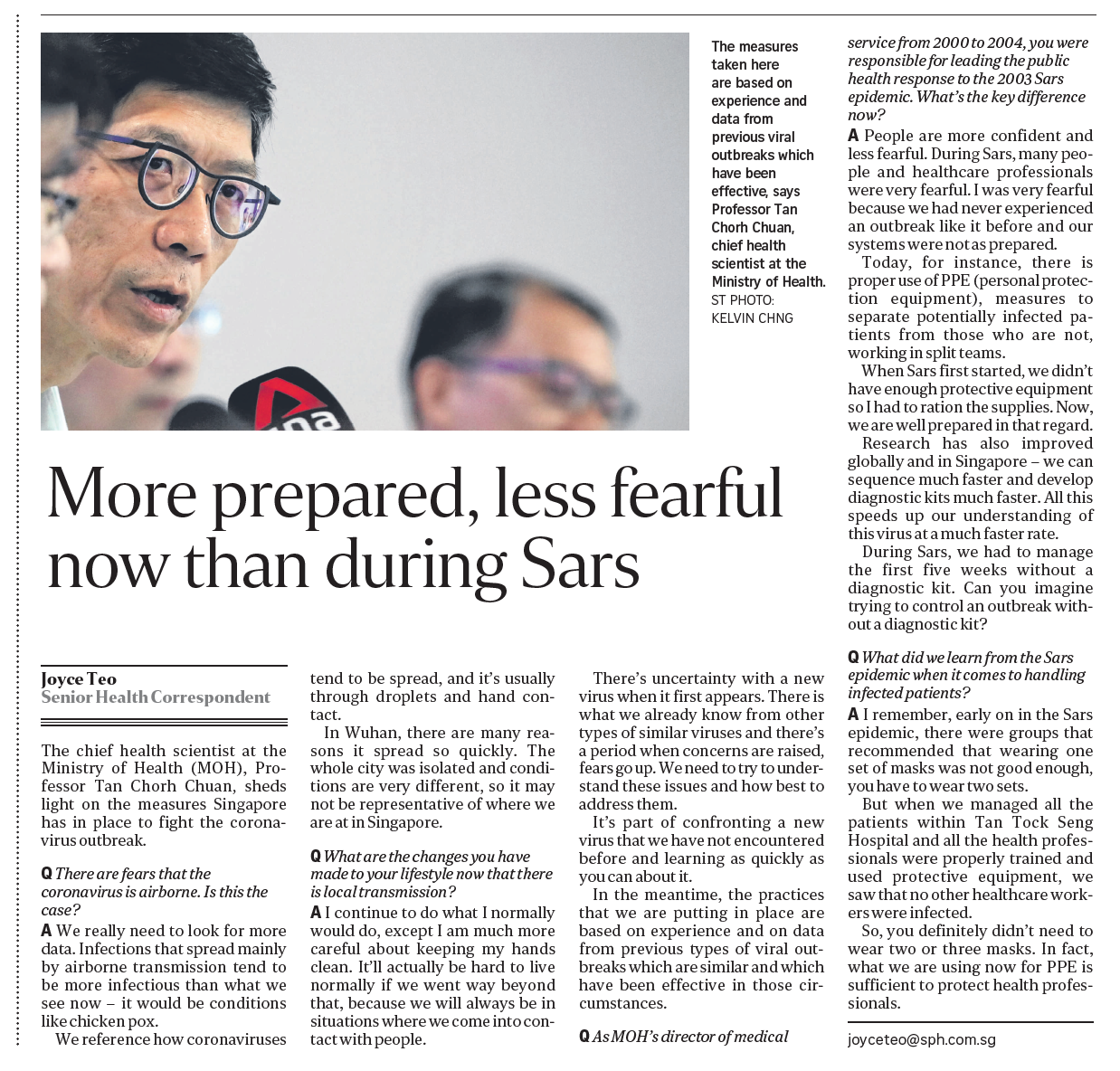 More prepared, less fearful now than during Sars (The Sunday Times, 16 Feb 2020, pB9)