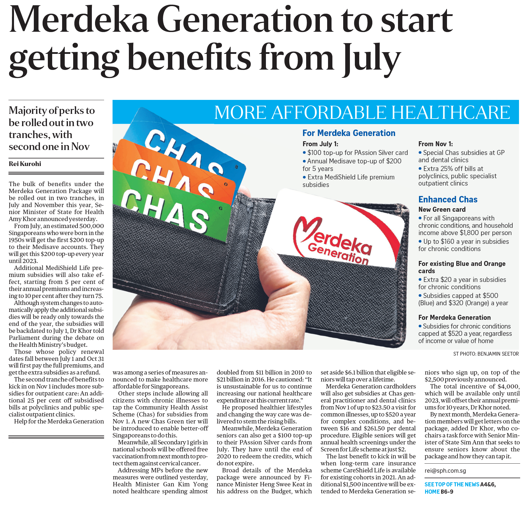Merdeka Generation to start getting benefits from July (The Straits Times, 7 March 2019, pA1)
